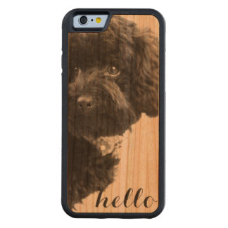 Black Toy Poodle in B&W Photography Personalized Carved Cherry iPhone 6 Bumper Case