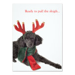 Black toy poodle with reindeer antlers 5.5x7.5 paper invitation card
