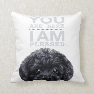 Black Toy poodle with typography Throw Pillow