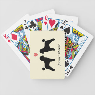 Black Toy Poodles with Heart and Text Bicycle Playing Cards