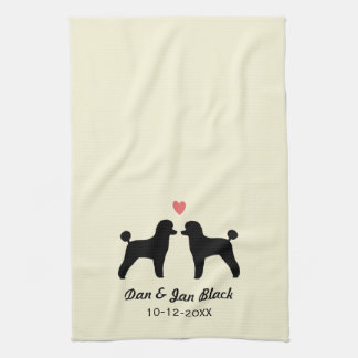 Black Toy Poodles with Heart and Text Kitchen Towel