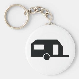 black trailer icon basic round button keychain