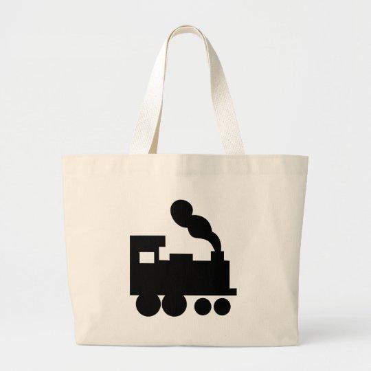 black train railway icon large tote bag