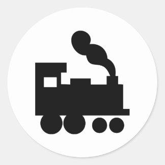 black train railway icon round stickers