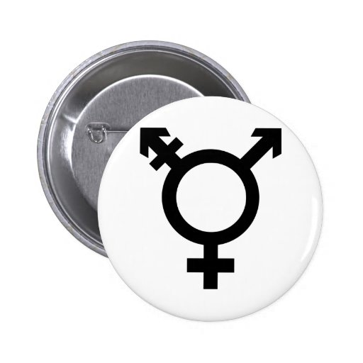 Black Transgender Symbol Pinback Buttons