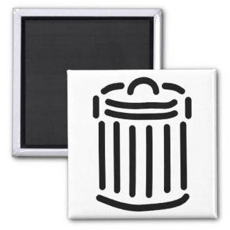 Black Trash Can Symbol 2 Inch Square Magnet