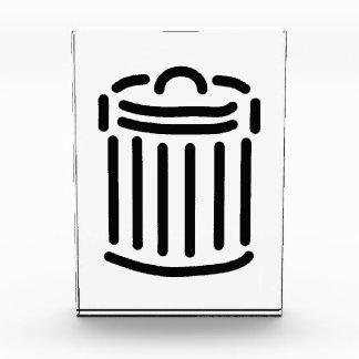 Black Trash Can Symbol Acrylic Award