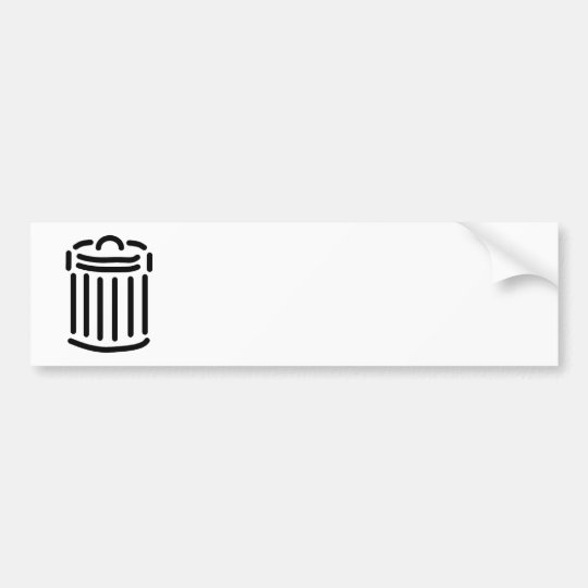 Black Trash Can Symbol Bumper Sticker