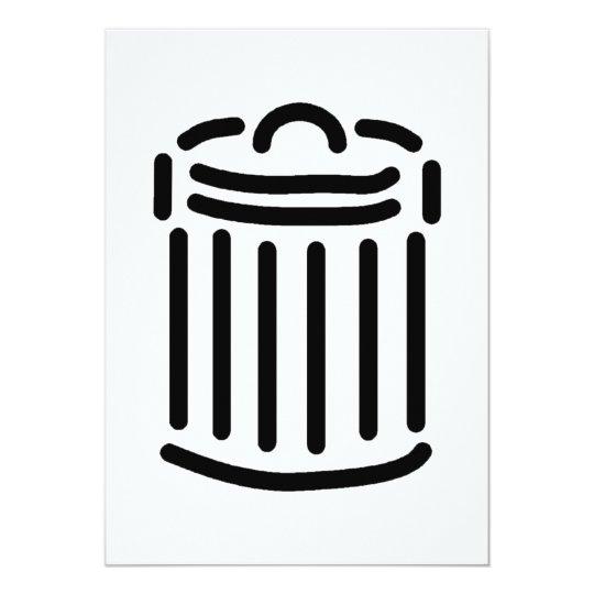 Black Trash Can Symbol Card