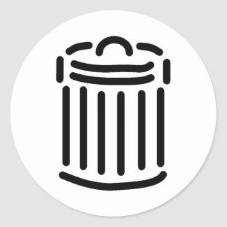 Black Trash Can Symbol Classic Round Sticker