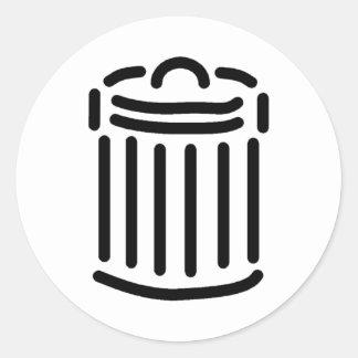 Black Trash Can Symbol Classic Round Sticker