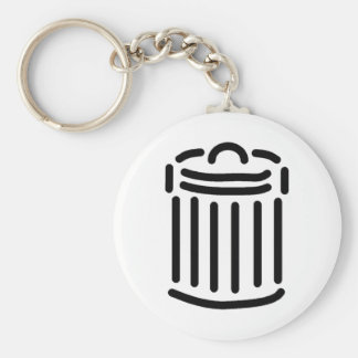 Black Trash Can Symbol Keychain