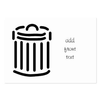 Black Trash Can Symbol Large Business Card