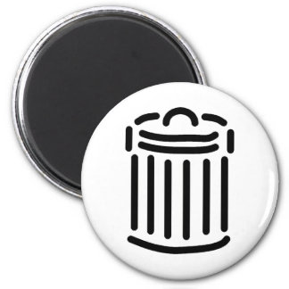 Black Trash Can Symbol 2 Inch Round Magnet