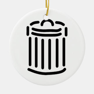 Black Trash Can Symbol Double-Sided Ceramic Round Christmas Ornament