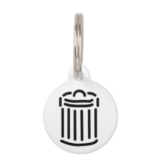 Black Trash Can Symbol Pet Tag