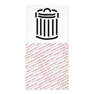 Black Trash Can Symbol Photo Card Template