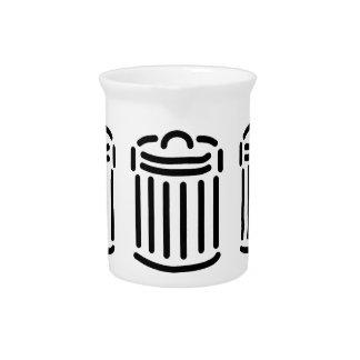 Black Trash Can Symbol Pitcher