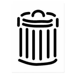 Black Trash Can Symbol Postcard