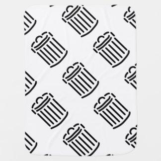 Black Trash Can Symbol Receiving Blanket