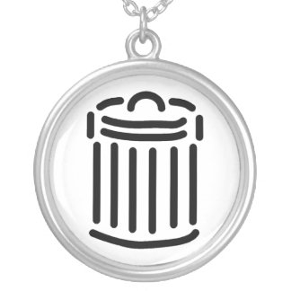 Black Trash Can Symbol Round Pendant Necklace
