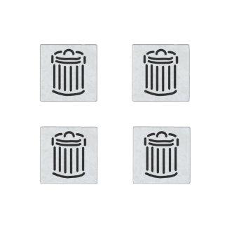 Black Trash Can Symbol Stone Magnet