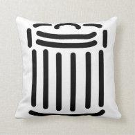 Black Trash Can Symbol Throw Pillows