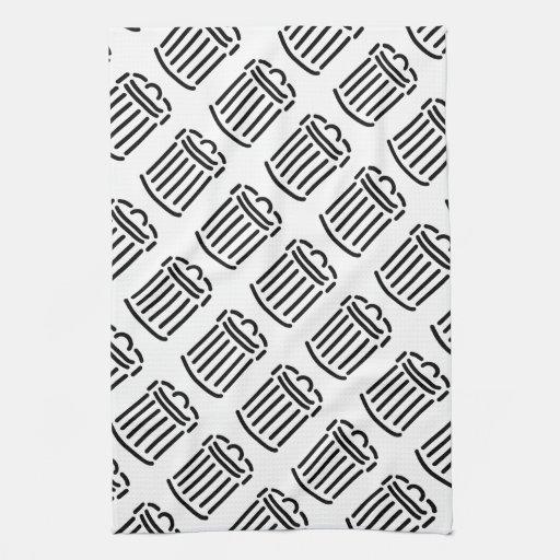 Black Trash Can Symbol Towels