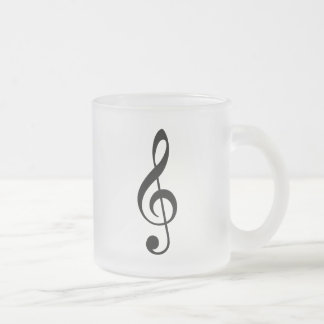 Black Treble Clef Frosted Glass Coffee Mug