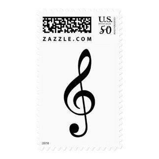 black treble clef music postage