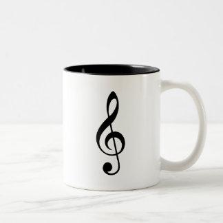 Black Treble Clef Two-Tone Coffee Mug