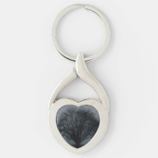 Black Tree against Gray Stormy Sky Silver-Colored Heart-Shaped Metal Keychain