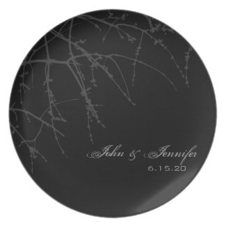 Black Tree Branch Silhouette Plate