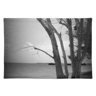 Black Tree by the Sea Place Mat