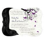 Black Tree Purple Birds Wedding Invitations