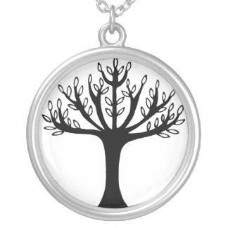 black tree round pendant necklace