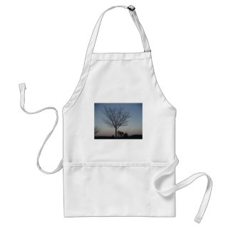 Black Tree  Silhouetted against purple pink sky Adult Apron