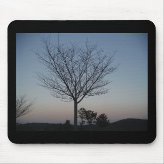 Black Tree  Silhouetted against purple pink sky Mouse Pad