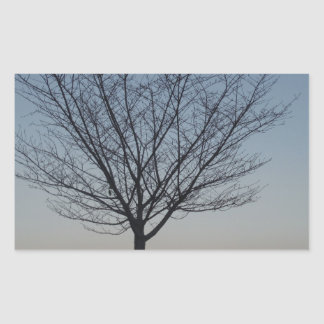 Black Tree  Silhouetted against purple pink sky Rectangular Sticker