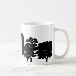 Black Tree Silhouettes on White Mug