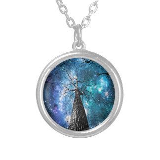 Black Trees Falling Stars Round Pendant Necklace
