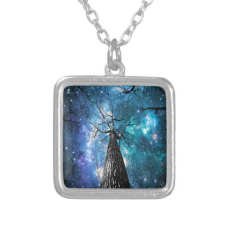 Black Trees Falling Stars Square Pendant Necklace
