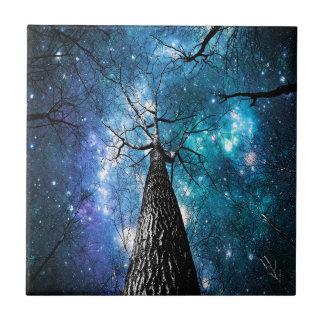 Black Trees Falling Stars Tile