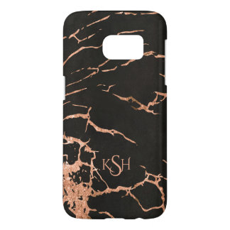 Black & Trendy Rose-Gold Marble Crackles Samsung Galaxy S7 Case