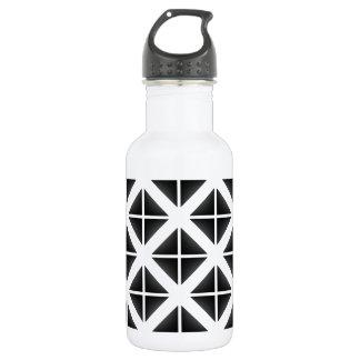 Black Trendy Triangle Pattern Water Bottle