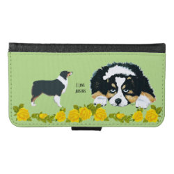 Galaxy S6 Wallet Case with Australian Shepherd Phone Cases design