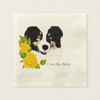 Black Tri Aussie and Yellow Roses Coined Cocktail Napkin