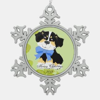 Black Tri Aussie Cartoon Dog Green Leaves Ornament