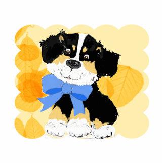 Black Tri Aussie Cartoon Dog on Gold Leaves Acrylic Cut Outs