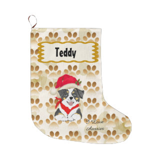 Black Tri Aussie Christmas Pup Large Christmas Stocking
